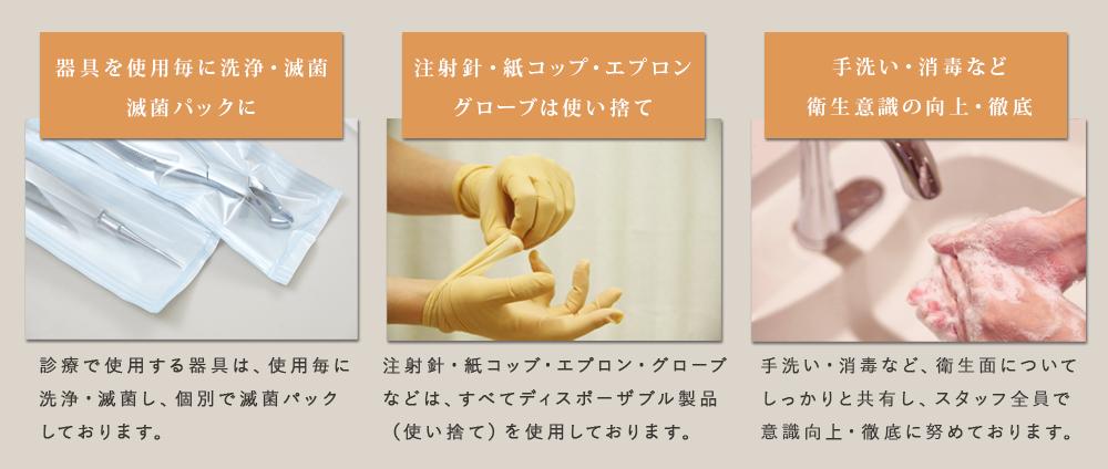 安心できる治療のための院内感染対策  アットホームな歯医者を目指して